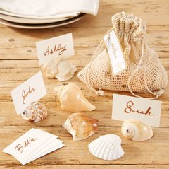 Neptune Set of 6 Assorted Shell Place Card Holders in Gift Pouch