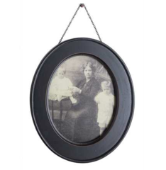 Aged Black Wood Photo Frame with Chain