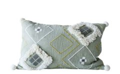 Mint and Mist Woven Embroidered Pillow