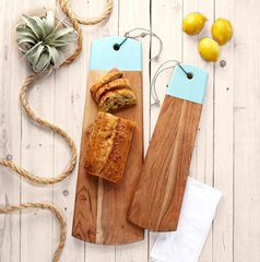 Set of 2 Paddle Cutting Boards with Leather Strap and Seafoam Accent