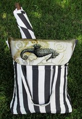 Hammock Swing (Striped Black with Seahorse)