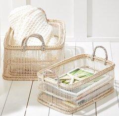 White Washed Bamboo Basket (Set of 3)