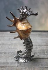 Pewter Seahorse with Shell