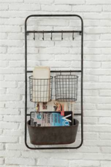 Metal Shelf with Baskets and Bin