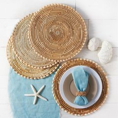 Set of 4 Pandan and Seashell Placemats - Sigay Shells/Pandan