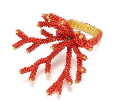 Coral Branch Napkin Ring Set of 4