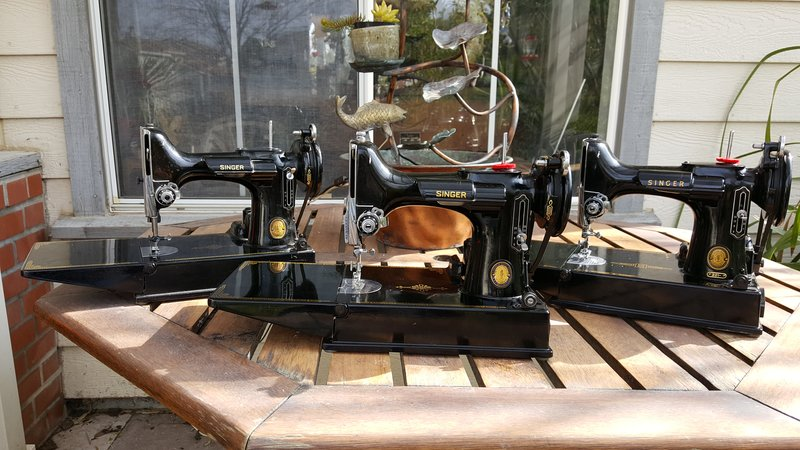 Some machines made from featherweight sewing machines parts