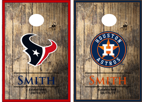 Texas Rangers And Houston Astros Cornhole Boards The
