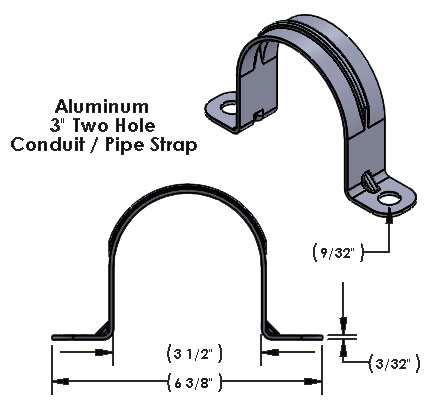 """3 Inch Two Hole Aluminum Strap Wide for use with 1/2"""" Hardware"""