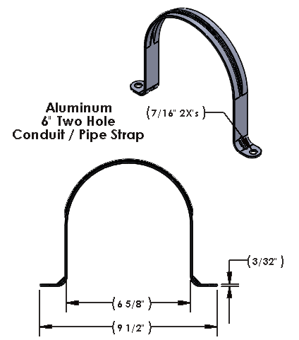 """6 Inch Two Hole Aluminum Strap for use with 3/8"""" Hardware"""