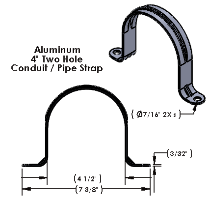 "4 Inch Two Hole Aluminum Strap for use with 3/8"" Hardware"