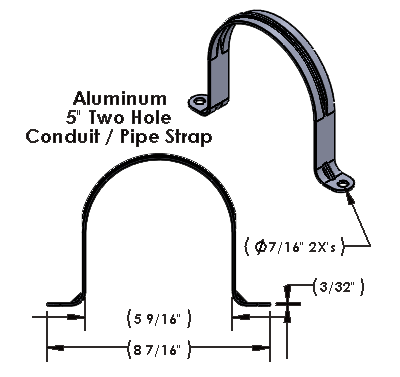 """5 Inch Two Hole Aluminum Strap for use with 3/8"""" Hardware"""