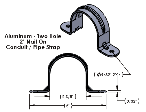 """2 Inch Aluminum Two Hole Nail On Strap for 1/4"""" Lag Bolts"""