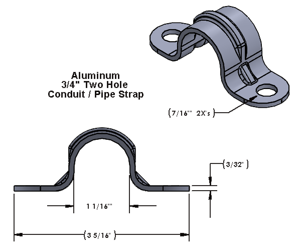 """3/4 Inch Two Hole Aluminum Strap for use with 3/8"""" Hardware"""