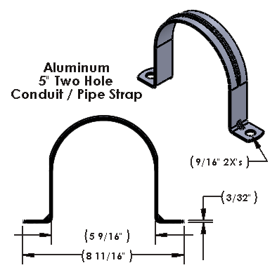 """5 Inch Two Hole Aluminum Strap Wide for use with 1/2"""" Hardware"""