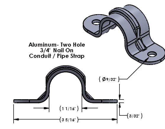 3/4 Inch Aluminum Two Hole Nail On Strap