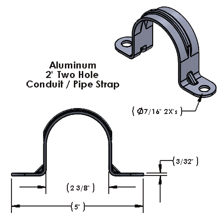 """2 Inch Two Hole Aluminum Strap for use with 3/8"""" Hardware"""