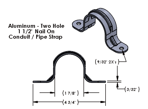 1 1/2 Inch Aluminum Two Hole Nail On Strap