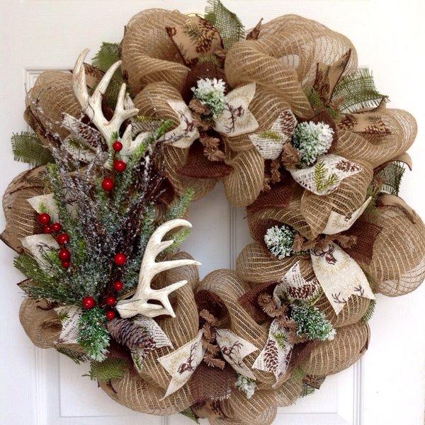 Deer antlers holiday wreath with iced greenery handmade for Antler christmas wreath