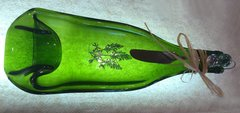 Green concave wine bottle cheese tray with bluebonnet decal