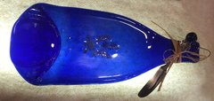 Blue flat wine bottle cheese tray with bluebonnet decal