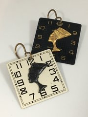 Striking Complimentary Opposite Vintage Elgin Watch Dial Earrings with Nefertiti Profile