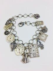 Vintage Watch Dial Charm Bracelet in Silver Tone