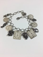 Day of the Dead and Vintage Watch Dial Charm Bracelet