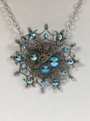 Antique Silver Plate Snowflake Pendant with Vintage Watch Movement and Turquoise AB Swarovski Crystals