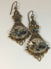 Large Brass Filigree Drop Earrings with vintage Watch Movements and Swarovski Crystals