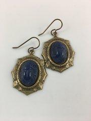 Blue Vintage Scarab Earrings
