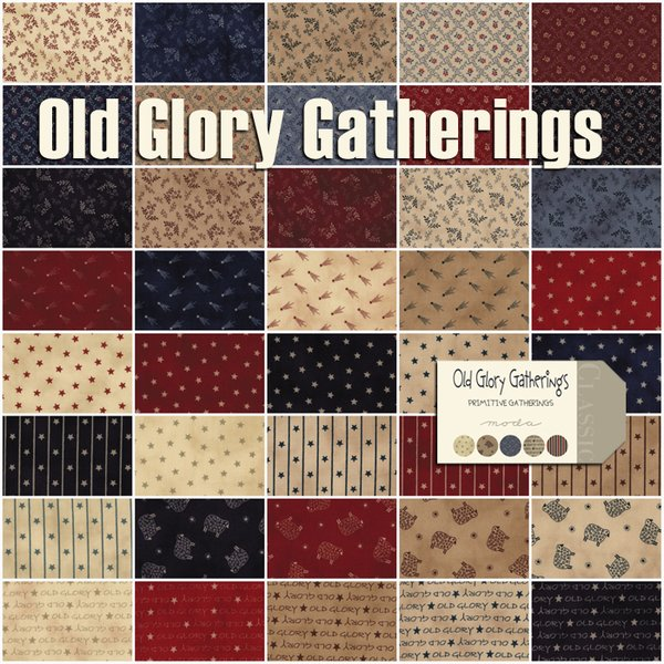 Old Glory Gatherings Mini Charm Pack by Primitive Gatherings for ... : old glory quilt - Adamdwight.com