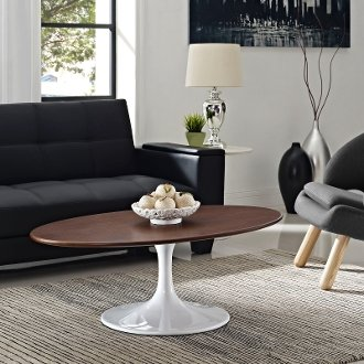 Saarinen Style Oval Walnut Coffee Table Take 1 Designs Mid